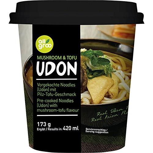 Kiirsupp Udon nuudlid, tofu ja seened, topsis (Allgroo)